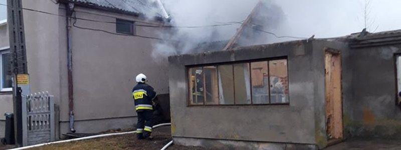 Pożar kotłowni w Strachocicach (gm. Dobra)