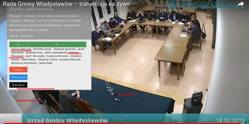 Władysławów. Sesja rady gminy - głosowanie