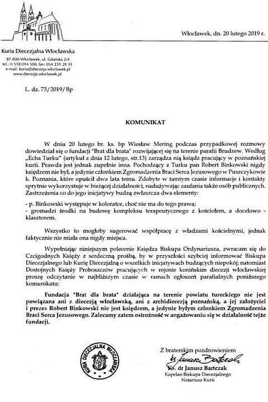 Komunikat Kurii Diecezji Włocławskiej