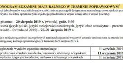 Harmonogram egzaminów maturalnych 2019