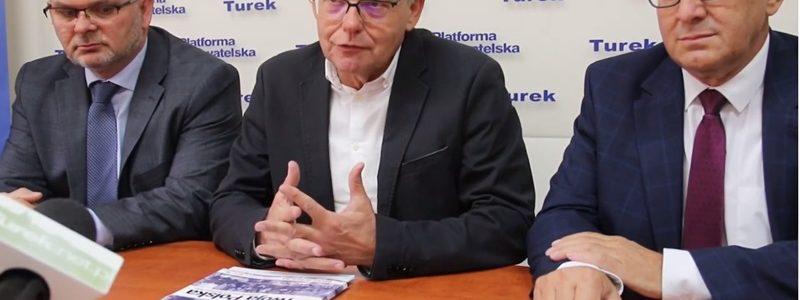 Konferencja KO: Maciej Sytek, poseł Nowak, Grzegorz Ciesielski