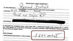 oświadczenie majątkowe Ryszarda Bartosika