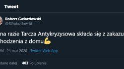 Robert Gwiazdowski na Twitterze o Tarczy Antykryzysowej