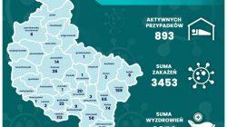 Aktywne przypadki Covid-19 w powiatach Wielkopolski - stan na 20.07.2020 r. (mapa)