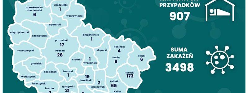 Mapa zakażeń koronawirusem w Wielkopolsce z podziałem na powiaty \ stan na 22.07.2020 r.