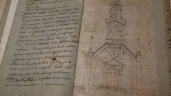 Rys wieży w kościele w Galewie