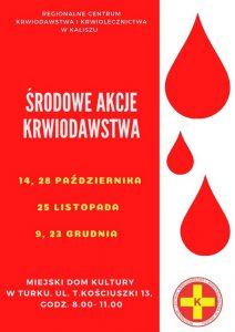 Od środy akcje honorowego krwiodawstwa w MDK Turek (plakat)