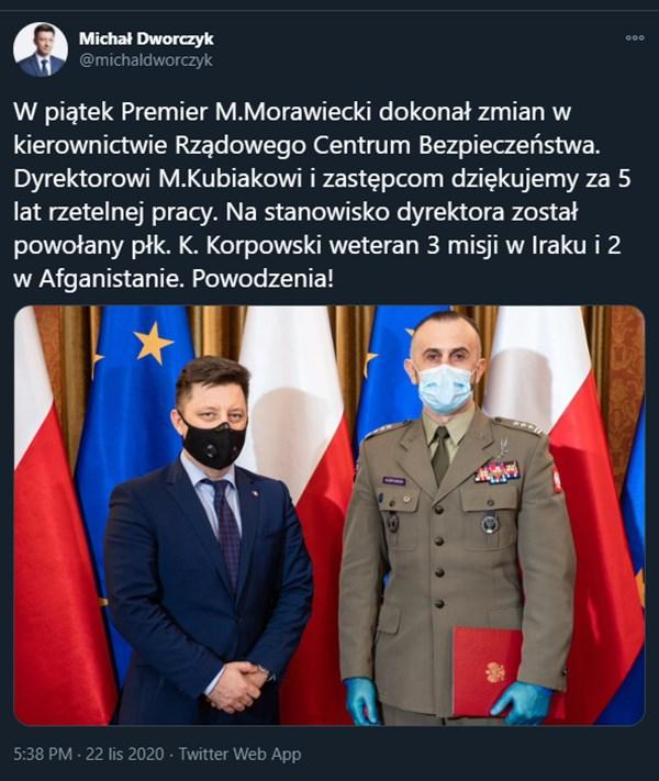Michał Dworczyk poniformował o dymisji Marka Kubiaka