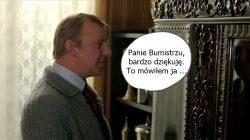 """Jarząbek Wacław - kadr z filmu Miś z napisem: """"Panie Burmistrzu, bardzo dziękuję. To mówiłem ja ..."""""""