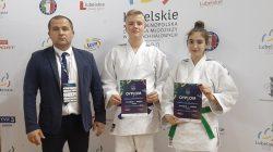 UKS Judo Tuliszków, od lewej: trener Michał Gaj, Jan Antoniewicz, Julia Kocimska