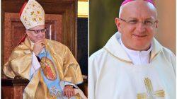 Biskup Wiesław Mering oraz nowy biskup włocławski Krzysztof Wętkowski