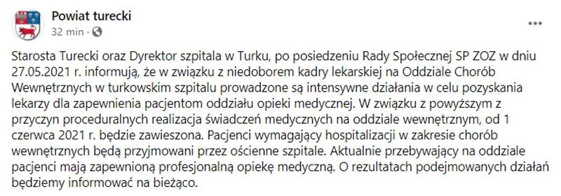 Szpital w Turku bez oddziału wewnętrznego | komunikat powiatu na fb