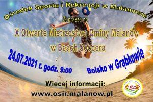 Plakat mistrzostw gminy Malanów w piłce nożnej plażowej