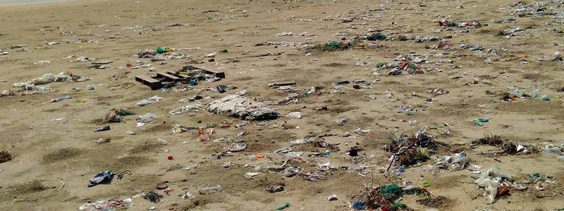 Zanieczyszczona plaża nad Bałtykiem
