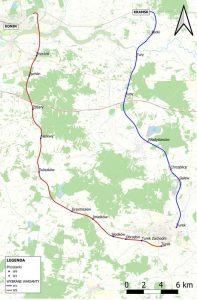 Proponowany przebieg linii kolejowej z Konina do Turku. Wersja przez Tuliszków i druga przez Władysławów