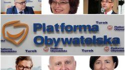 Zarząd koła PO Turek | od lewej od góry: Dariusz Młynarczyk, Mirosława Śmigaszewska, Piotr Rybarski | od lewej od dołu: Ewa Hirsz, Janusz Stryczniewicz, Elżbieta Michałowicz