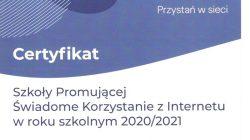 """ZSR Kaczki Śr. z certyfikatem """"Przystań w sieci"""""""